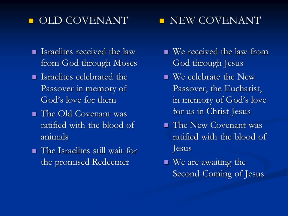 OLD COVENANT NEW COVENANT