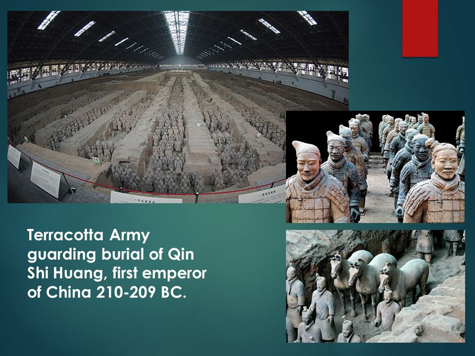 Terracotta Army guarding burial of Qin Shi Huang, first emperor of China 210-209 BC.