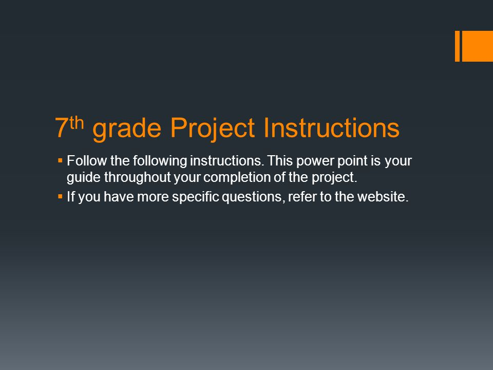 7th grade Project Instructions