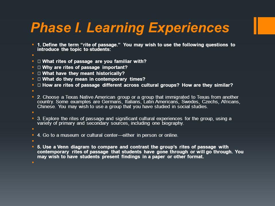 Phase I. Learning Experiences