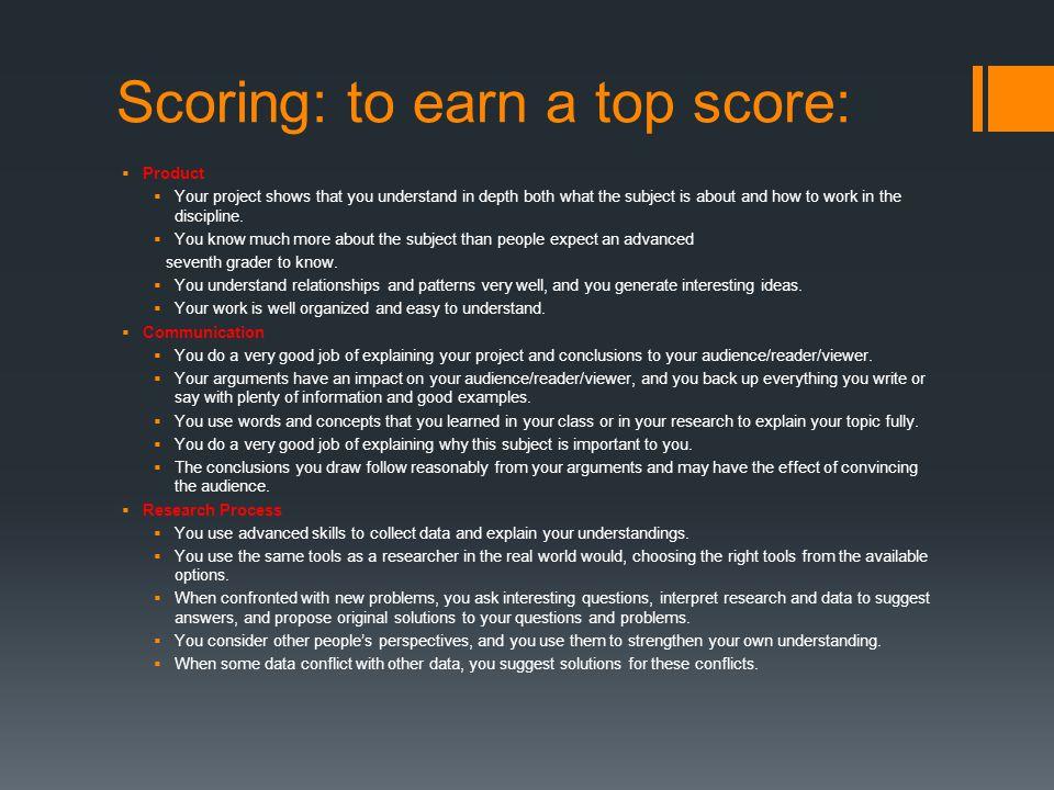 Scoring: to earn a top score: