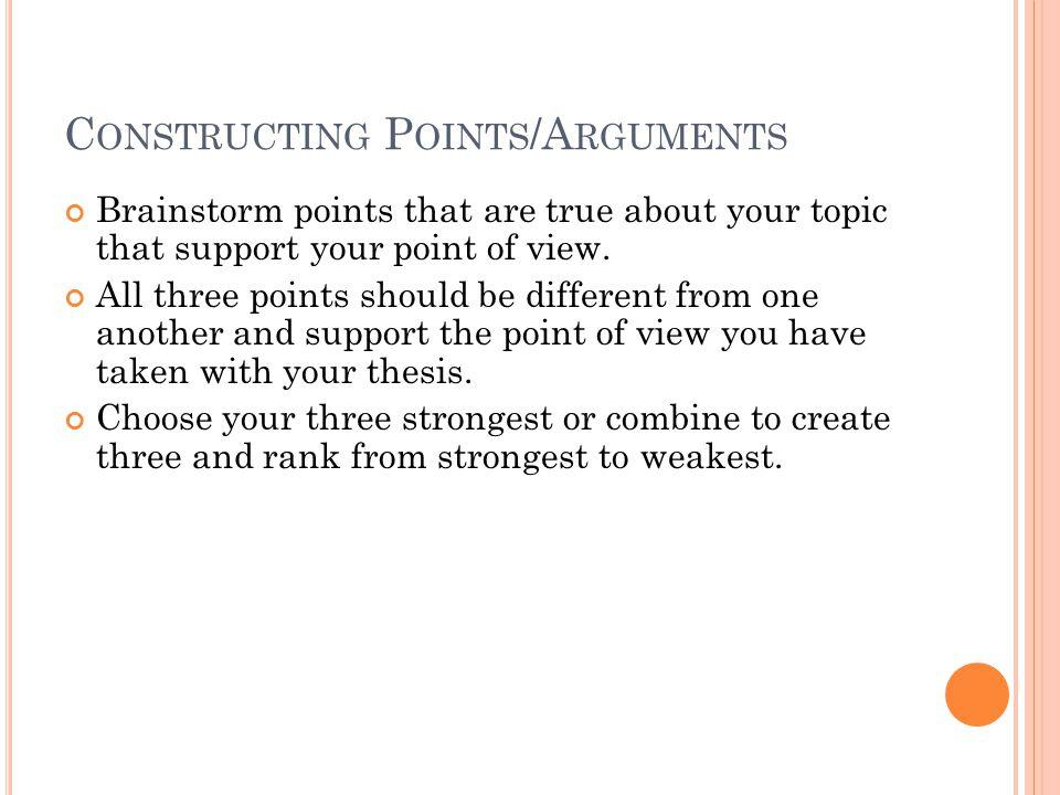 Constructing Points/Arguments