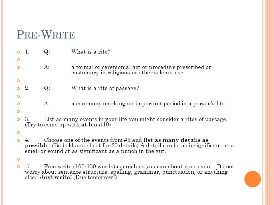 freshman senior essay ppt video online  q what is a rite