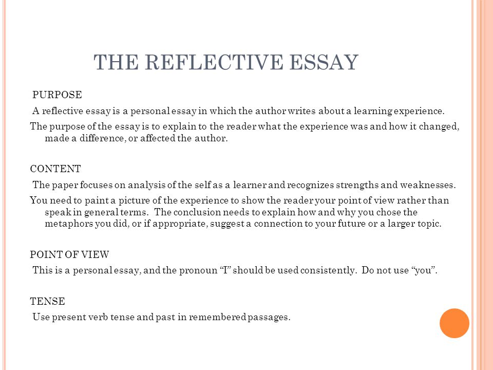 freshman senior essay ppt video online  the reflective essay