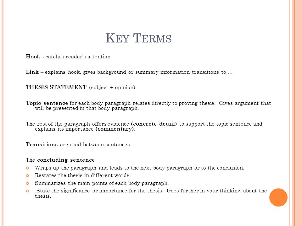 Key Terms Hook - catches reader's attention