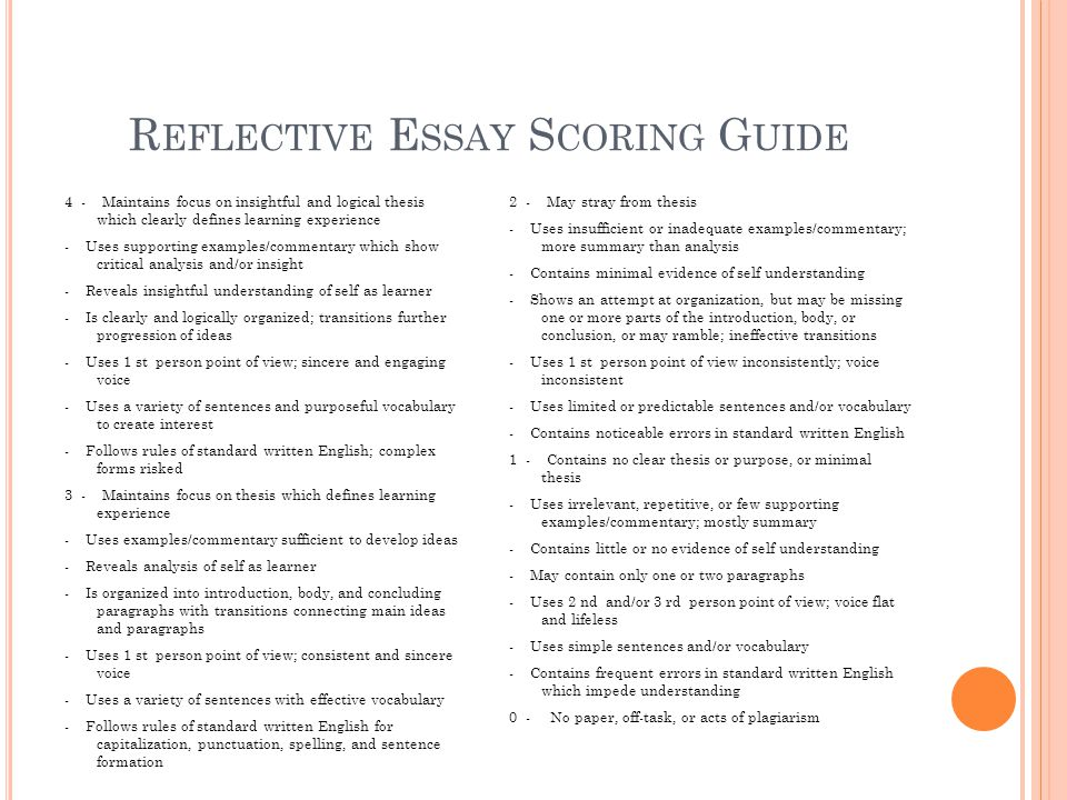 freshman senior essay ppt video online  reflective essay scoring guide