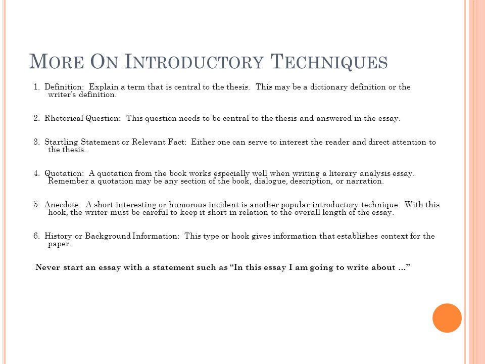 freshman senior essay ppt video online  more on introductory techniques