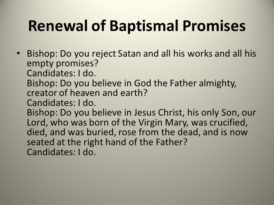Renewal of Baptismal Promises