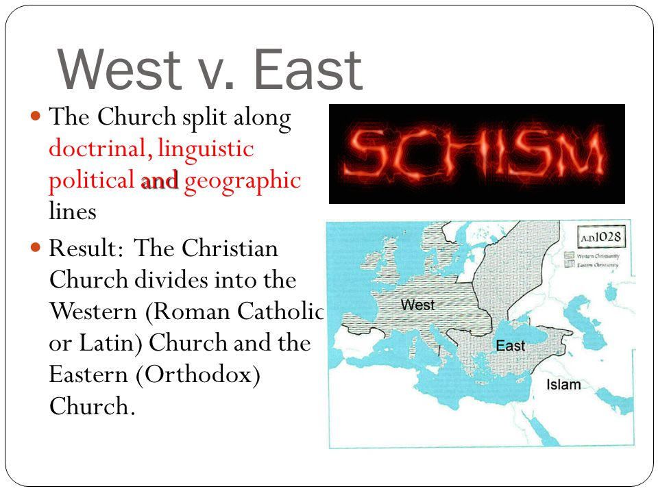West v. East The Church split along doctrinal, linguistic political and geographic lines.