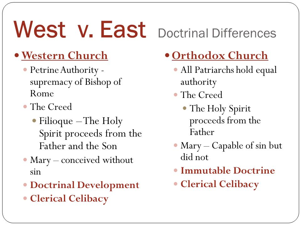 West v. East Doctrinal Differences