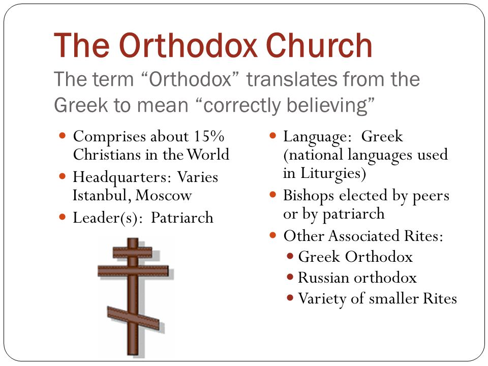 The Orthodox Church The term Orthodox translates from the Greek to mean correctly believing