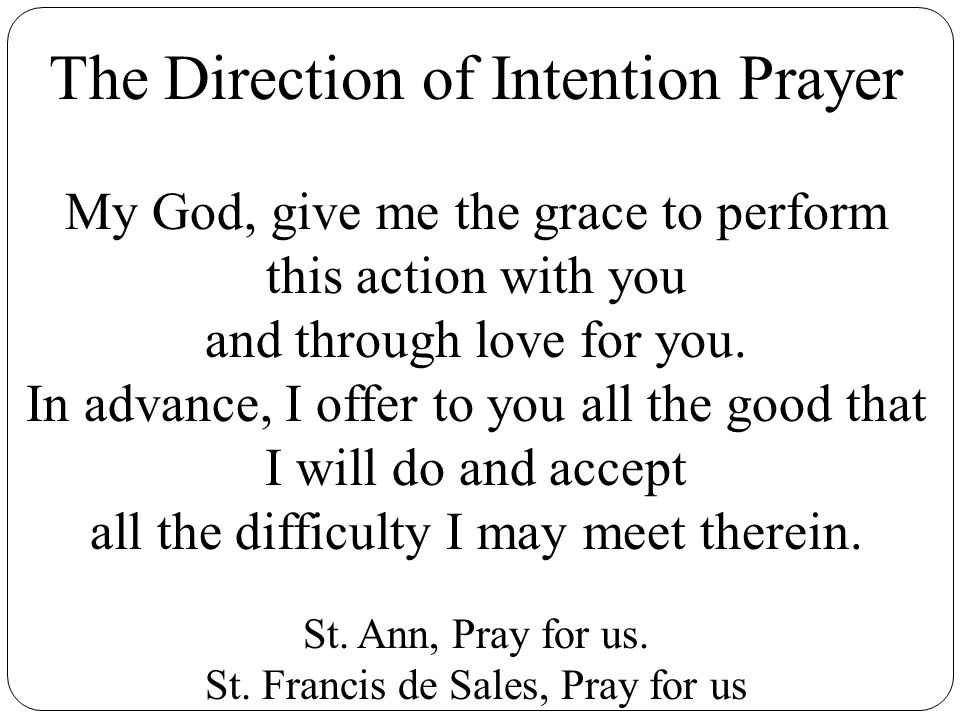 The Direction of Intention Prayer