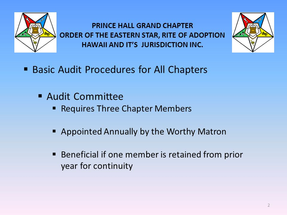 Basic Audit Procedures for All Chapters Audit Committee