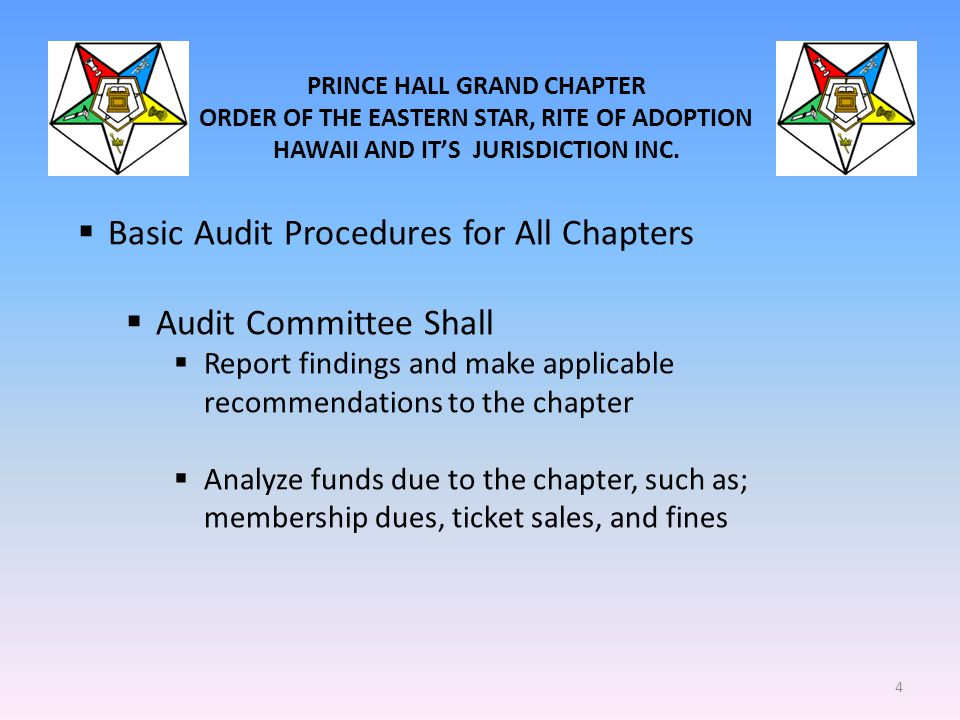 Basic Audit Procedures for All Chapters Audit Committee Shall