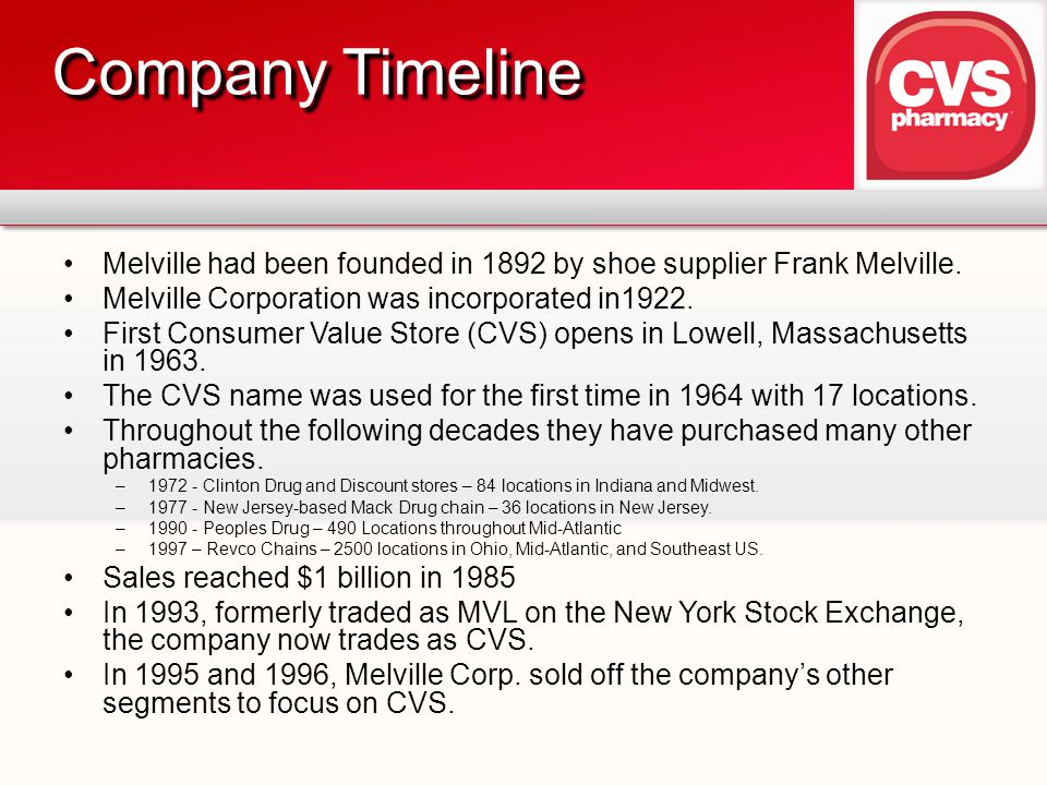 Company Timeline Melville had been founded in 1892 by shoe supplier Frank Melville. Melville Corporation was incorporated in1922.