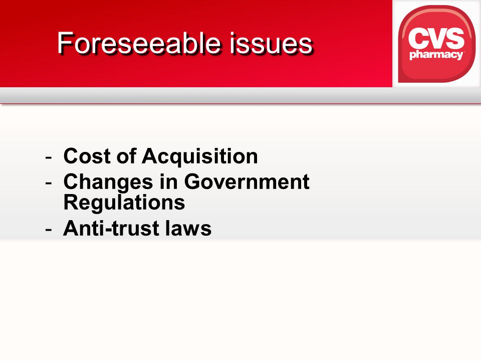 Foreseeable issues Cost of Acquisition