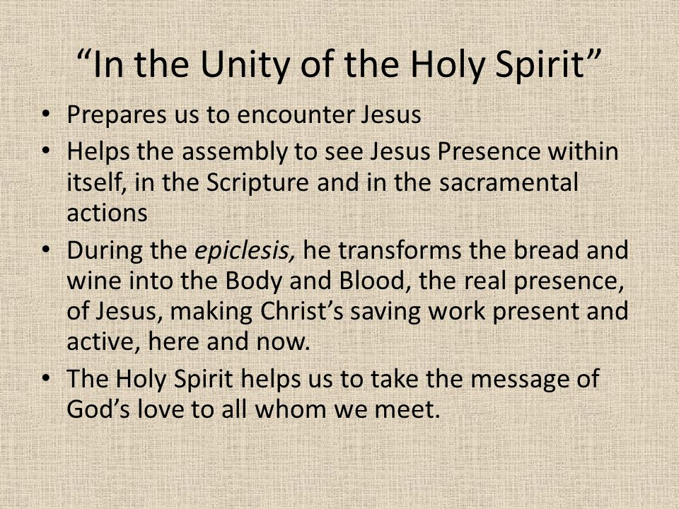In the Unity of the Holy Spirit