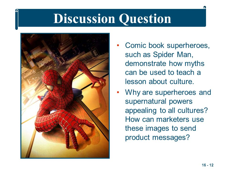 Discussion Question Comic book superheroes, such as Spider Man, demonstrate how myths can be used to teach a lesson about culture.