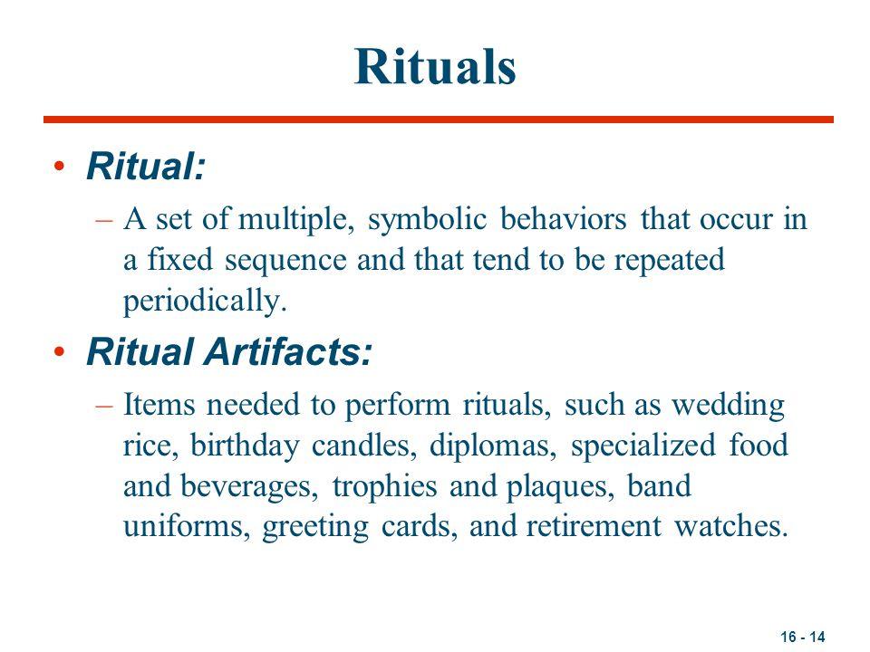 Rituals Ritual: Ritual Artifacts: