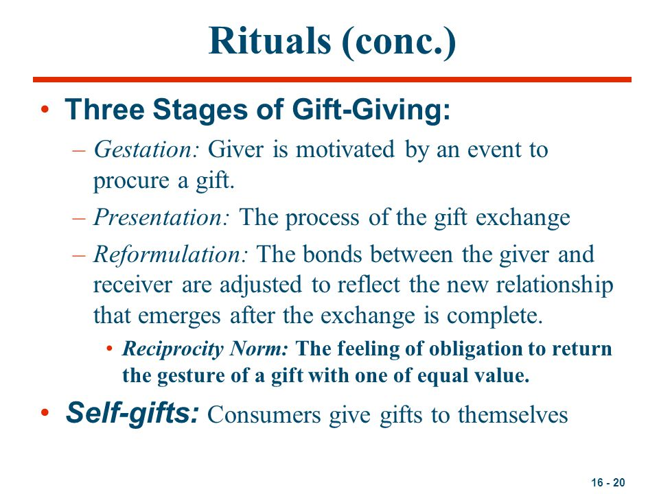 Rituals (conc.) Three Stages of Gift-Giving: