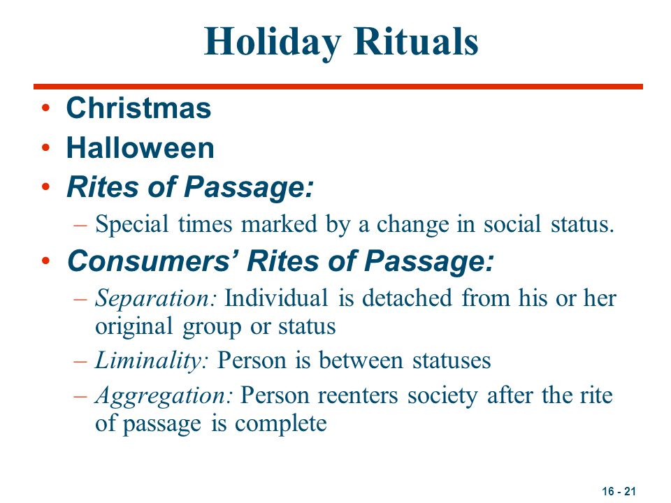 Holiday Rituals Christmas Halloween Rites of Passage:
