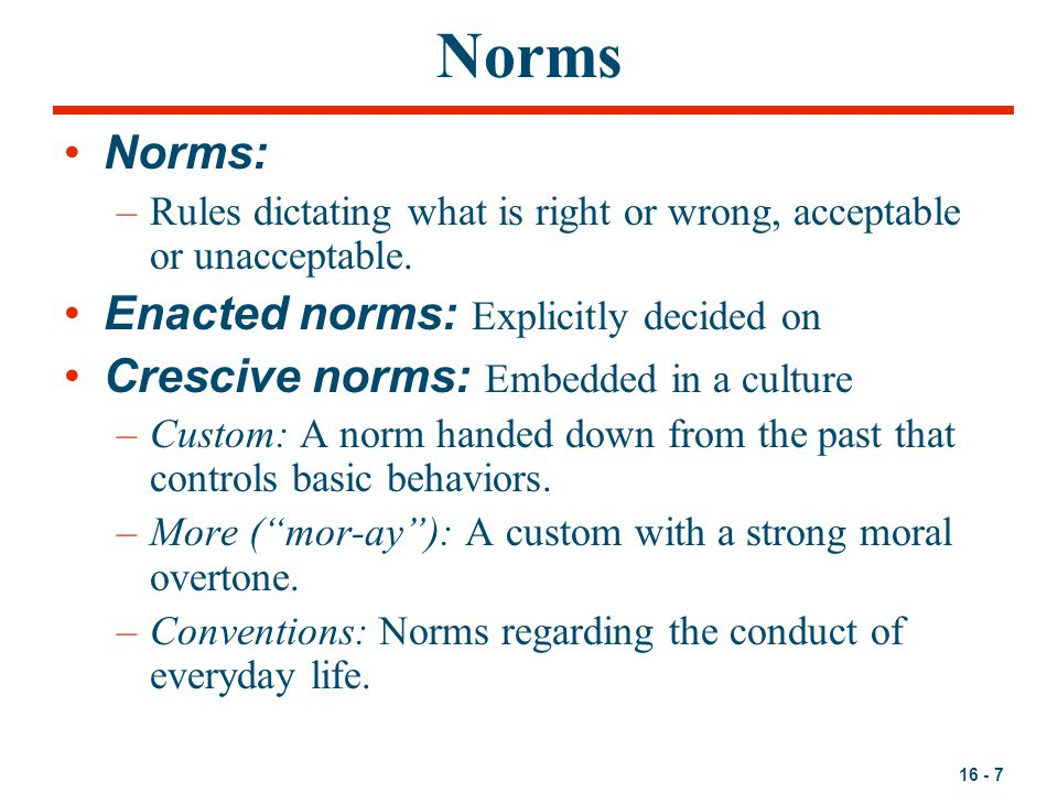 Norms Norms: Enacted norms: Explicitly decided on