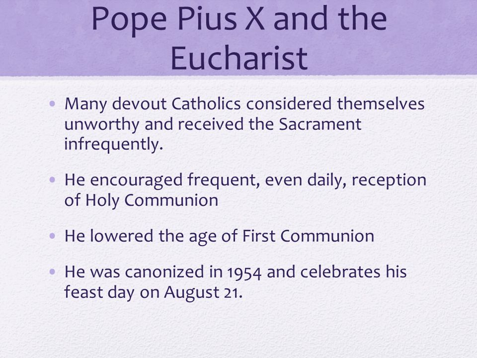 Pope Pius X and the Eucharist