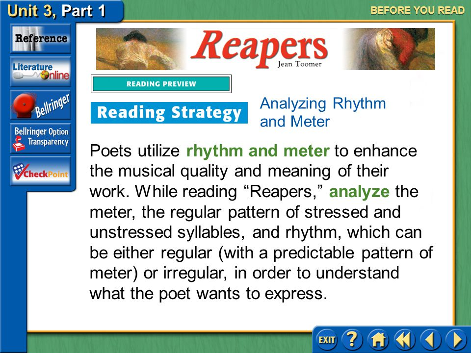 BEFORE YOU READ Analyzing Rhythm and Meter.