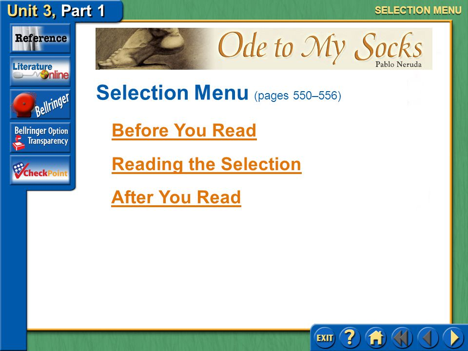 Selection Menu (pages 550–556)