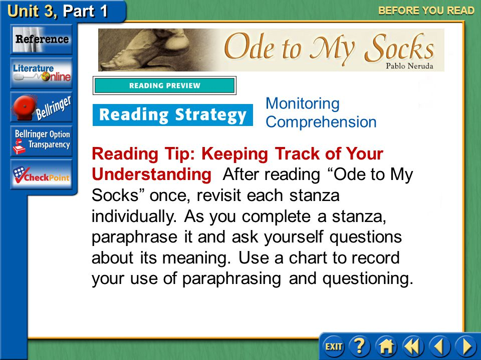 BEFORE YOU READ Monitoring Comprehension.