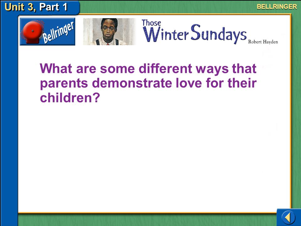 Unit 3, Part 1 BELLRINGER. What are some different ways that parents demonstrate love for their children