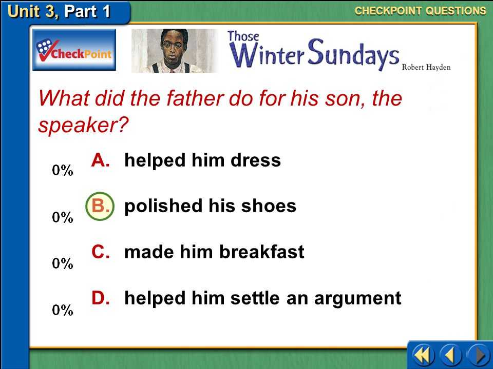 What did the father do for his son, the speaker