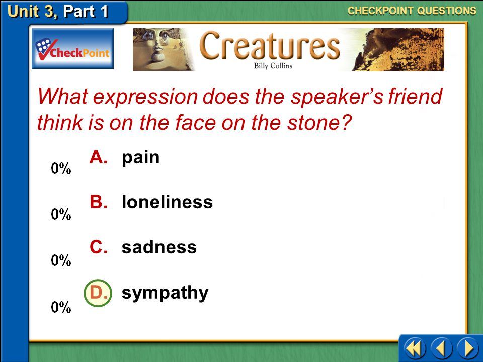 CHECKPOINT QUESTIONS What expression does the speaker's friend think is on the face on the stone pain.