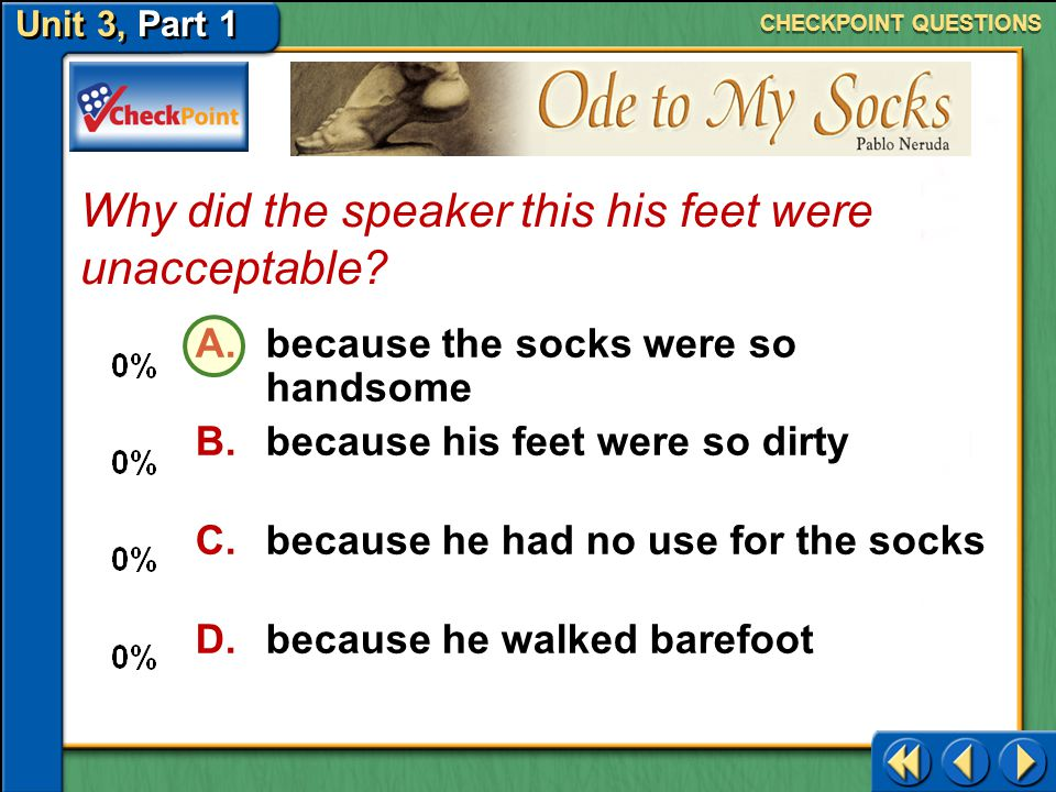 Why did the speaker this his feet were unacceptable