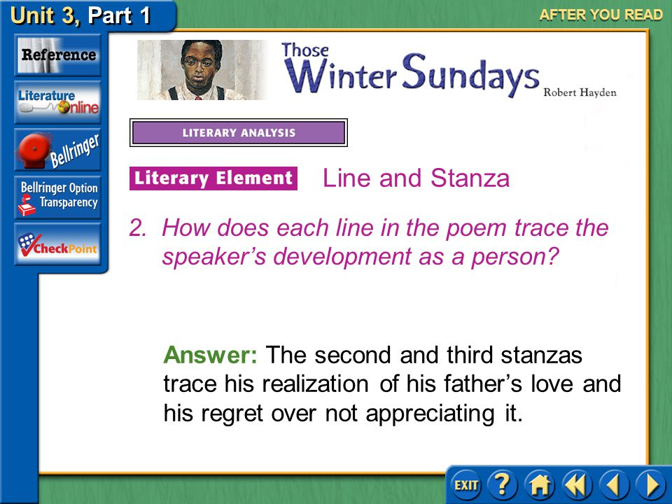 AFTER YOU READ Line and Stanza. How does each line in the poem trace the speaker's development as a person