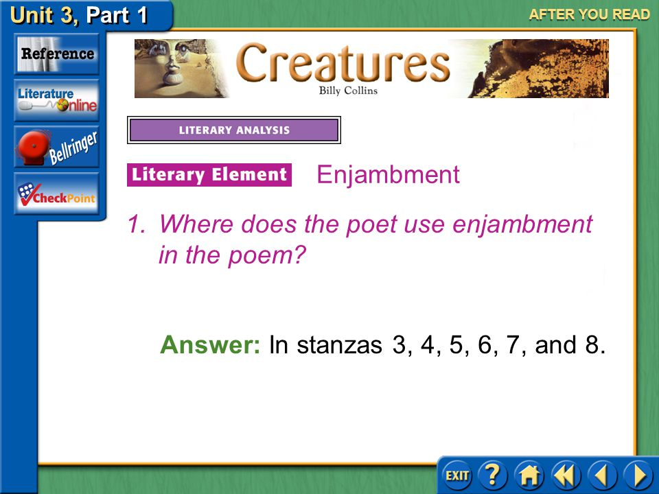 Where does the poet use enjambment in the poem