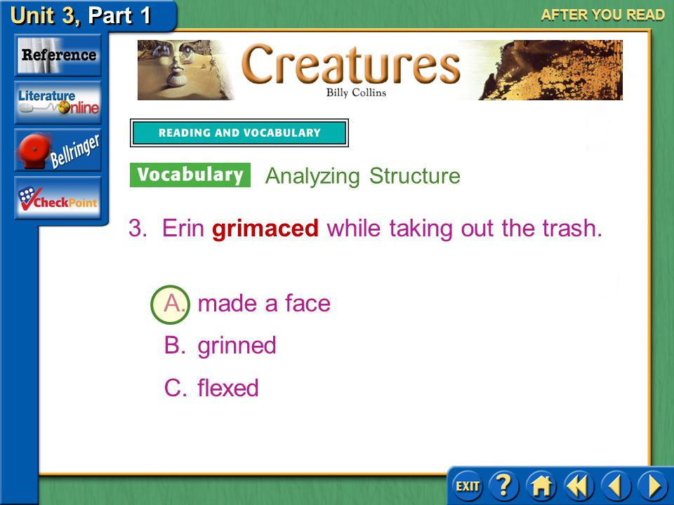 Erin grimaced while taking out the trash.