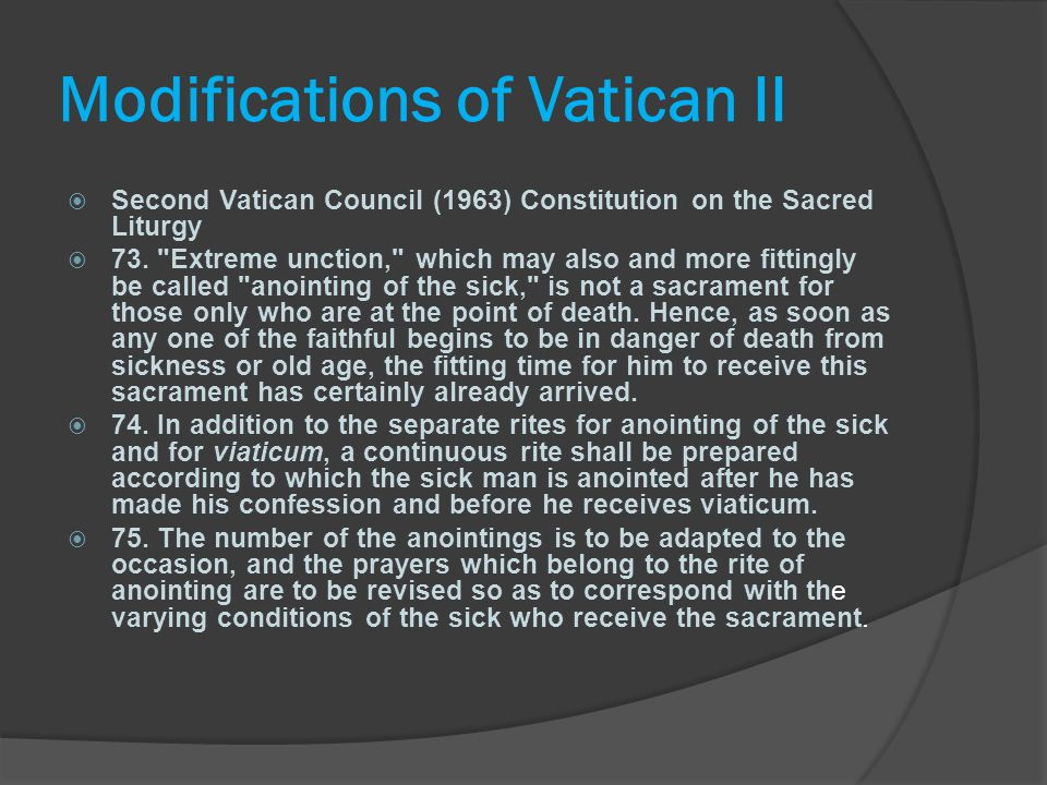 Modifications of Vatican II