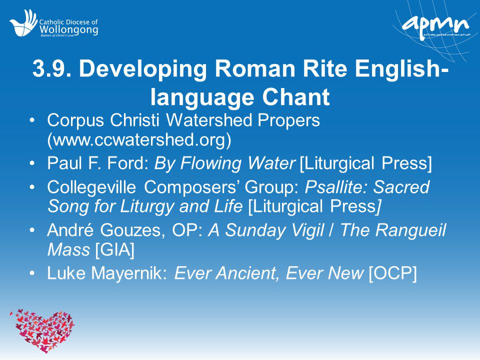 3.9. Developing Roman Rite English-language Chant