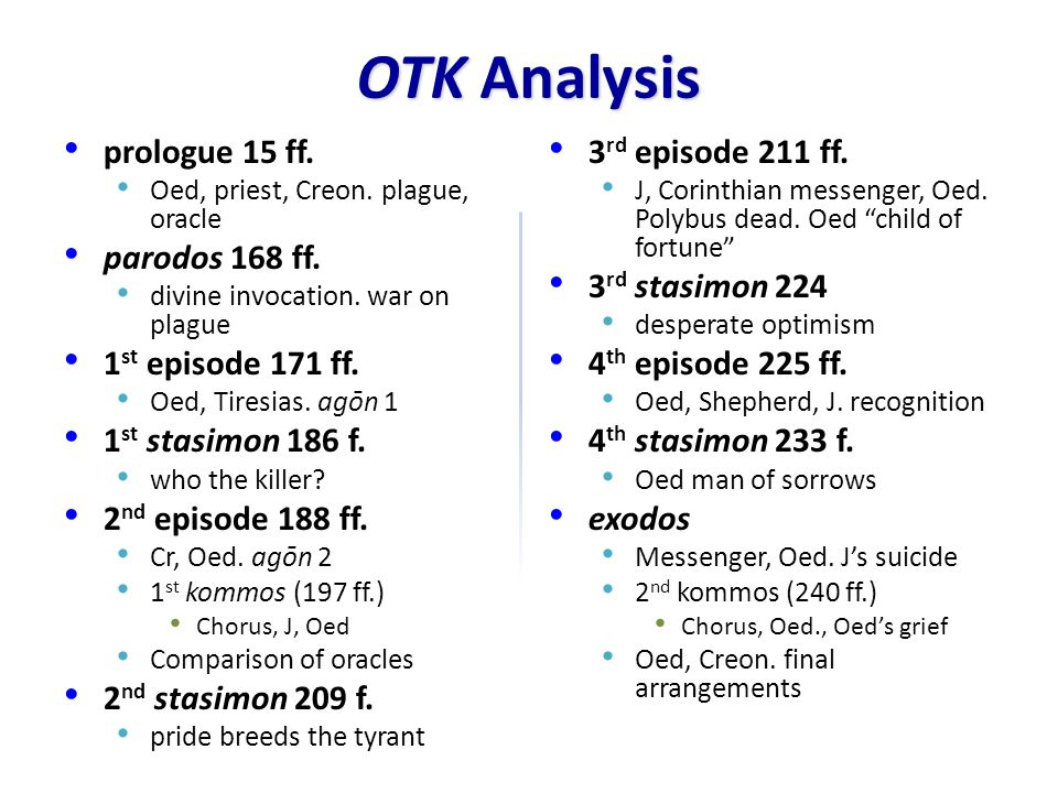 OTK Analysis prologue 15 ff. parodos 168 ff. 1st episode 171 ff.