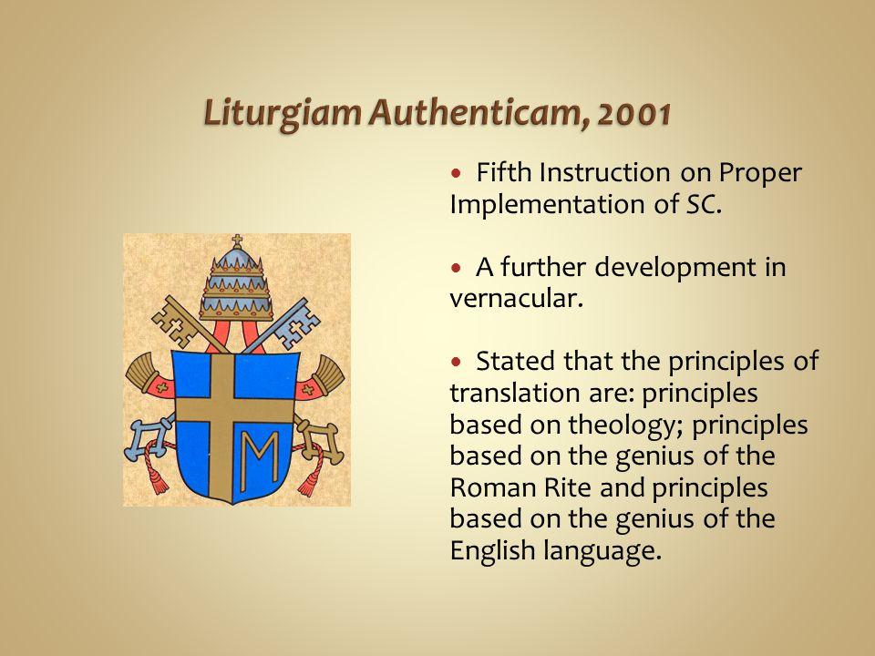 Liturgiam Authenticam, 2001
