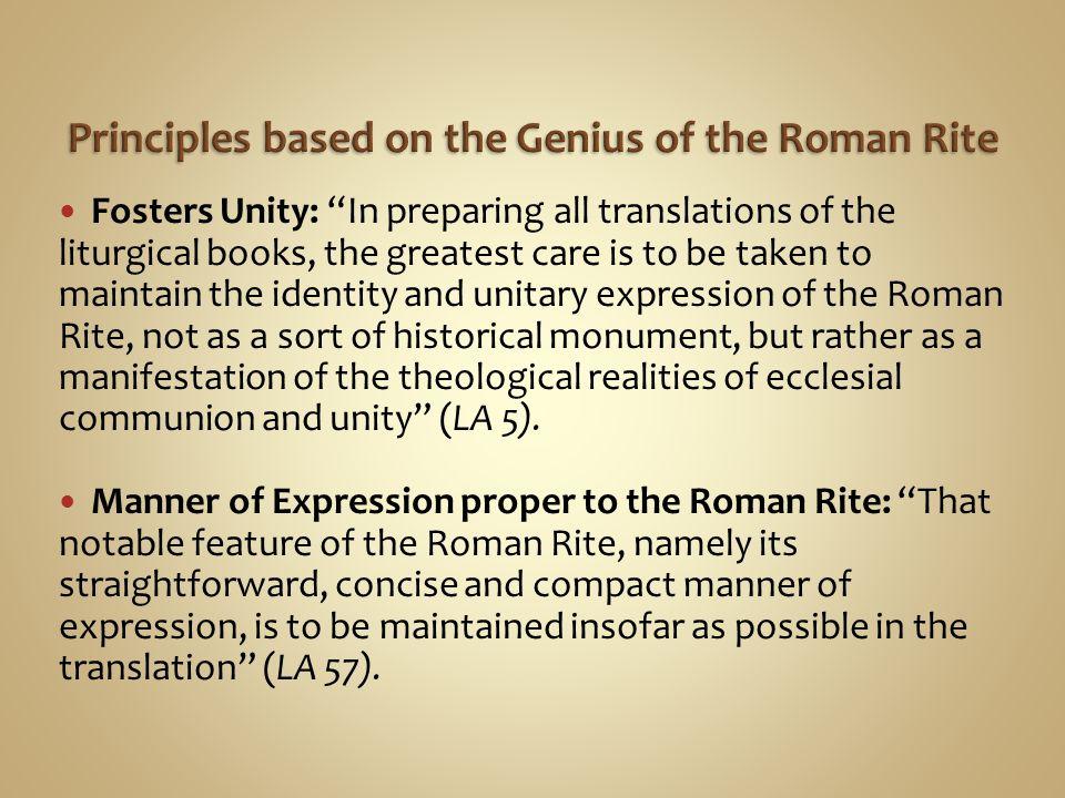 Principles based on the Genius of the Roman Rite