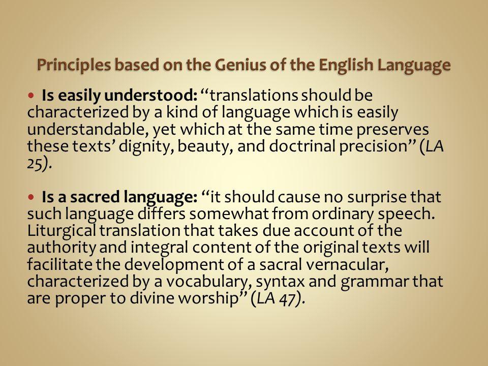 Principles based on the Genius of the English Language