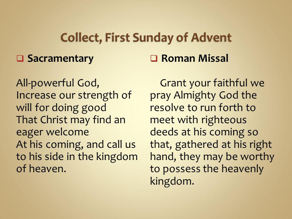 Collect, First Sunday of Advent