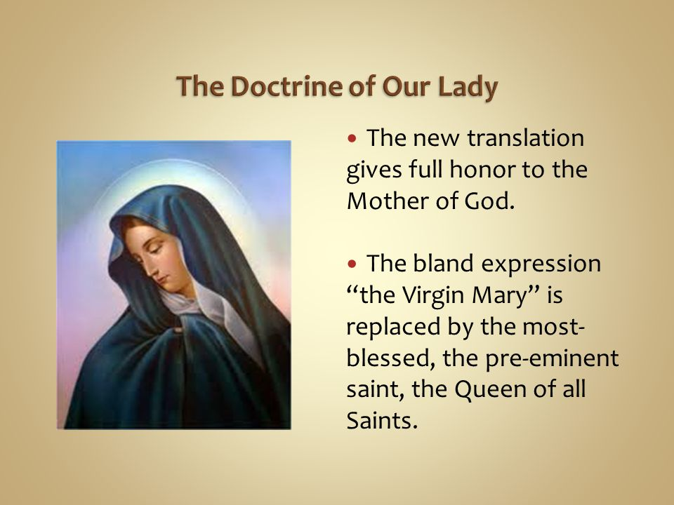 The Doctrine of Our Lady