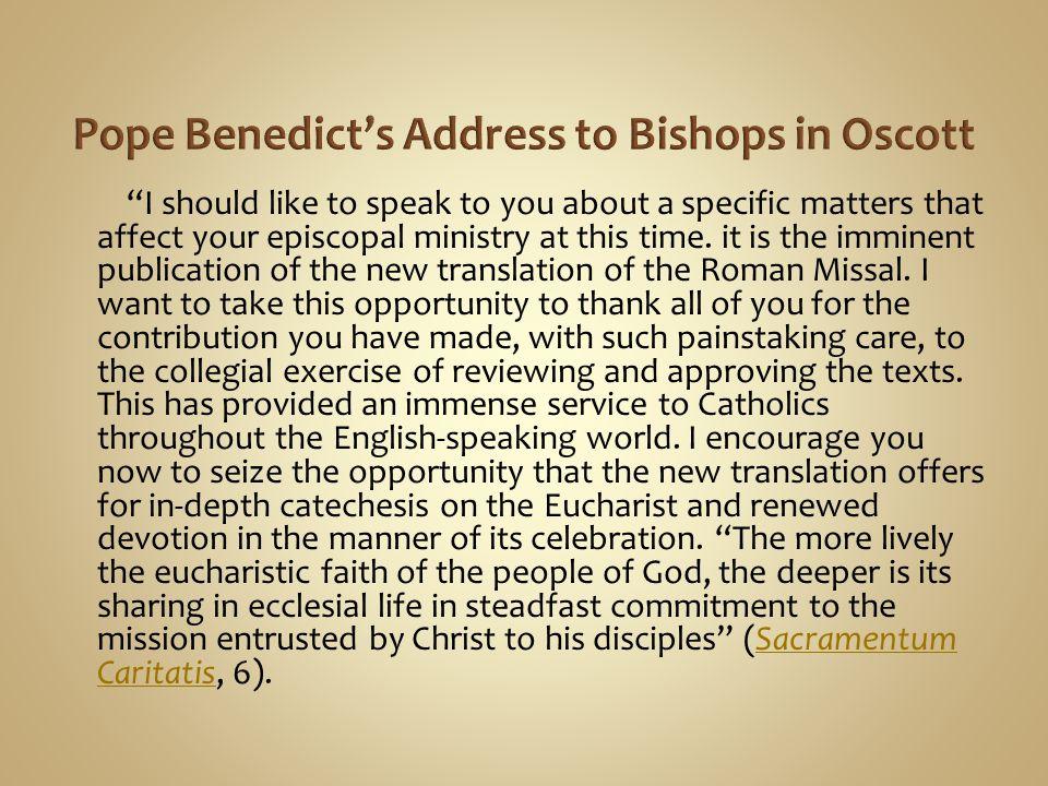 Pope Benedict's Address to Bishops in Oscott