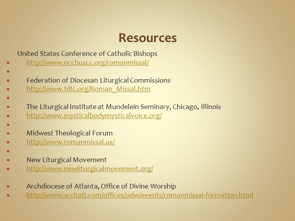 Resources United States Conference of Catholic Bishops