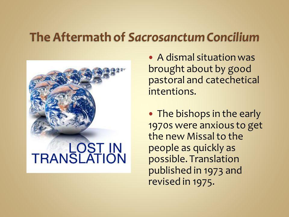 The Aftermath of Sacrosanctum Concilium