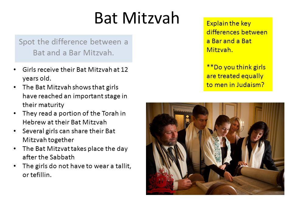 Spot the difference between a Bat and a Bar Mitzvah.
