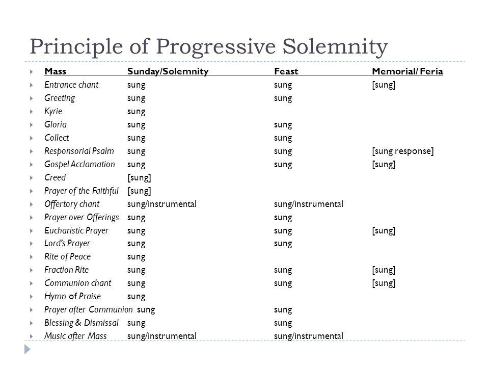 Principle of Progressive Solemnity